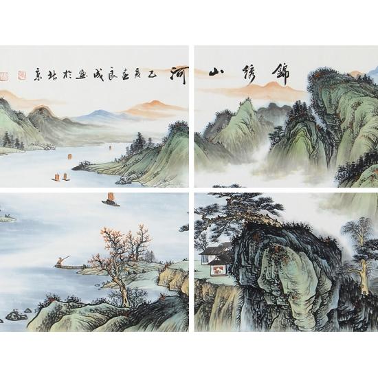 仿古装饰画 宁良成六尺横幅山水画《锦绣山河》