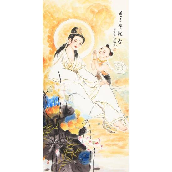 观音像 陈红梅四尺竖幅人物画《童子拜观音》