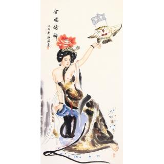 仕女图 陈红梅四尺竖幅人物画《含娇倚醉》