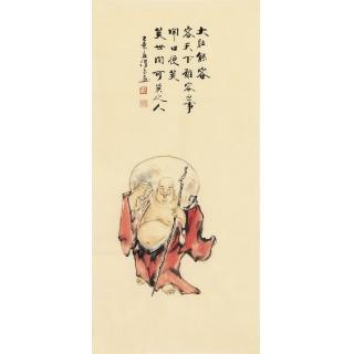 精品佛像画 刘汉良小品人物画《大肚能容》