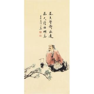 刘汉良小尺寸古代人物画《茶香宁静致远》