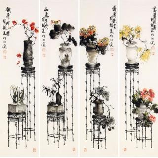 王国梁国画花鸟画四条屏《春色满园》