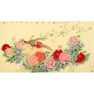 张洪山六尺横幅牡丹锦鸡图《锦上添花》