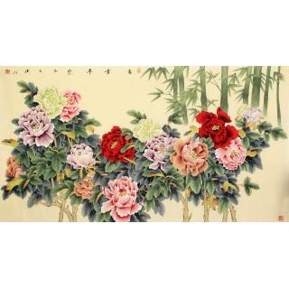 国家一级美术师张洪山新品牡丹竹子图《富贵平安》