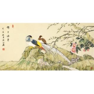 张洪山四尺横幅工笔花鸟画精品《锦上添花》