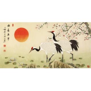 祝寿首选 张洪山四尺横幅工笔花鸟画《福寿康宁》