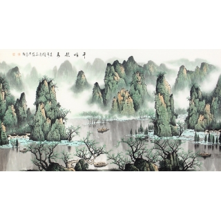 漓江山水 陈厚刚六尺横幅山水画作品《千峰竞秀》
