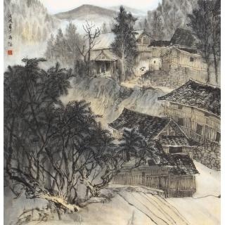 张通福四尺斗方写意山水画《三江侗寨写生》