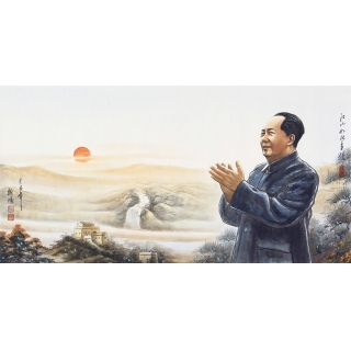 【已售】魏鸿四尺横幅人物画作品毛主席《江山如此多娇》
