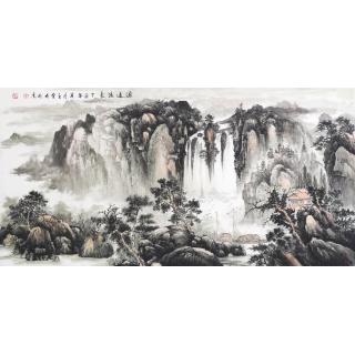 王立全四尺横幅山水画作品《源远流长》