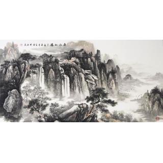 客厅挂画 王立全新品山水画《泰山松瀑》