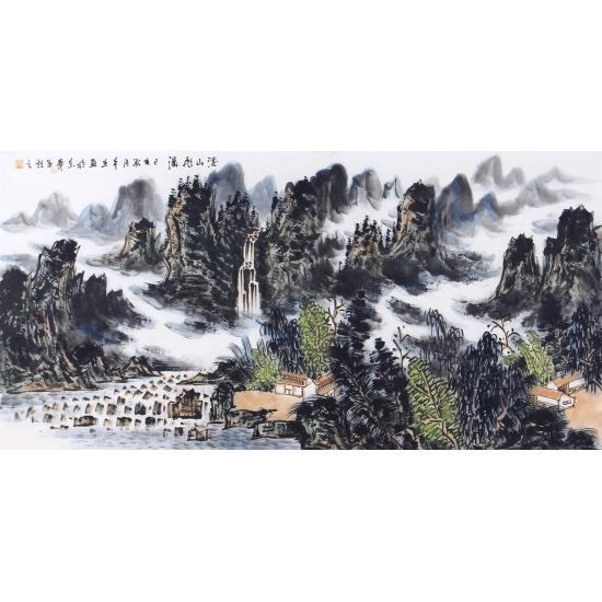 中国美协会员王本杰四尺横幅山水画《溪山飞瀑》