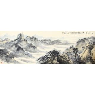 沙发背景墙挂画 齐伟家最新力作山水画《千华积瑞》
