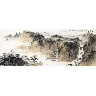 画家齐伟家新品力作六尺横幅山水画作品《常听溪水在潺缓》