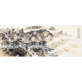 齐伟家六尺横幅山水画作品《水上秋山山上风》