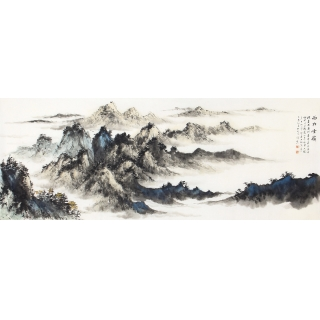 齐伟家六尺横幅山水画作品《西林云岭》