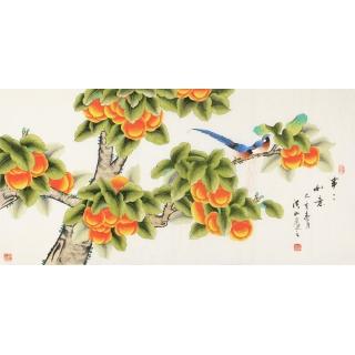 国家一级美术师张洪山如意柿子图《事事如意》