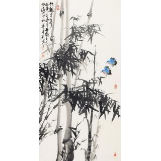 玄关挂画 李仲源四尺竖幅竹子图《竹报平安》