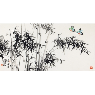 书房挂画 李仲源国画竹子图《清风高节》