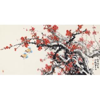 李仲源老师国画红梅图《喜上梅梢报新春》