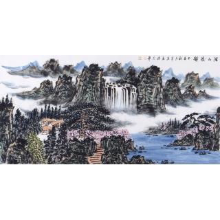 【已售】中国美协会员王本杰四尺横幅山水画《溪山流韵》