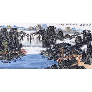 中美协会员王本杰写意山水画《源远流长》