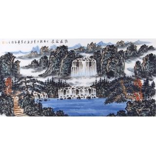 王本杰四尺横幅山水画《源远流长》