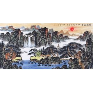 王本杰四尺横幅国画山水画作品《紫气东来》