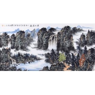 中国美协 王本杰四尺横幅山水画《溪山流韵》