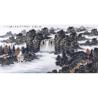 【已售】写意山水画 王本杰四尺横幅《松山雅居》