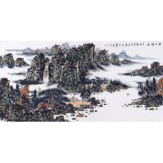 【已售】写意山水画 王本杰四尺横幅《溪山归舟》