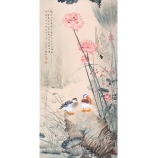 荷花鸳鸯图 花鸟画家张琳工笔画作品《碧荷生幽泉》