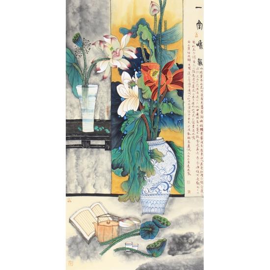 魏道武四尺竖幅花鸟画作品荷花《一堂和气》