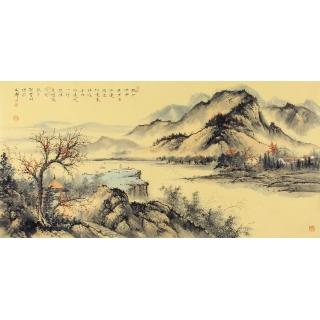 国画收藏 邹丰羽四尺横幅山水画《秋江渺渺无津崖》
