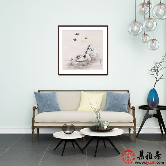 客厅挂画猫趣图 马作武斗方工笔动物画《猫趣》