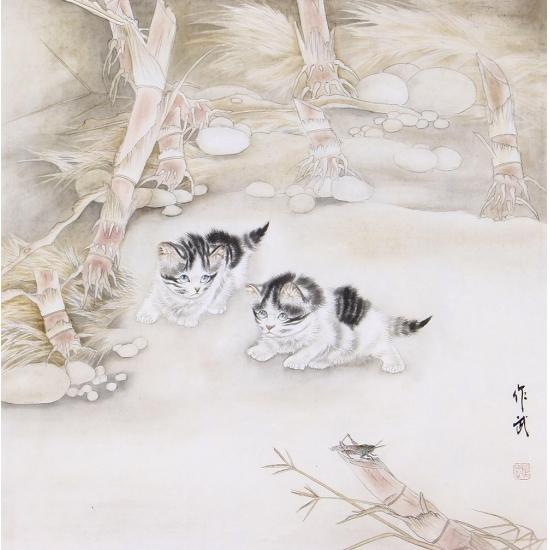 马作武工笔斗方动物画猫《猫趣图》