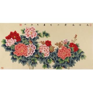 花开富贵牡丹国画 张洪山四尺横幅佳作《花开富贵》
