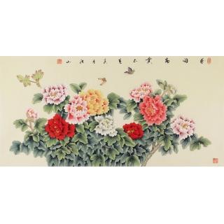 张洪山四尺横幅牡丹图《花开富贵》