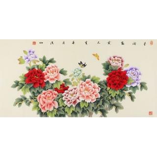 客厅装饰画 张洪山国画牡丹图《花开富贵》