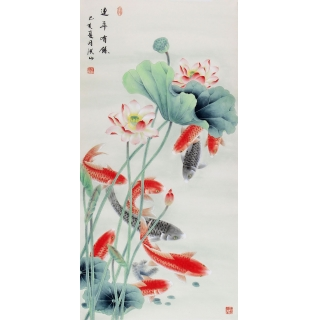 【已售】张洪山老师新品荷花九鱼图《连年有余》