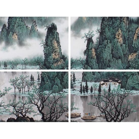 陈厚刚六尺创作漓江山水画《漓江春色》