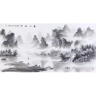 名家刘大海四尺横幅山水画《春润水乡》