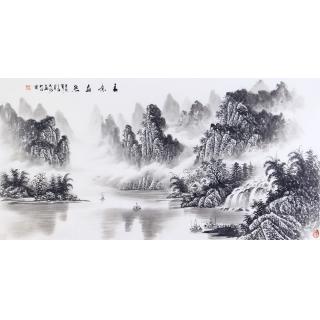 刘大海四尺横幅山水画作品《春意盎然》