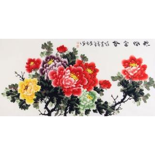 客厅装饰画 当代画家李东献牡丹图《花开富贵》