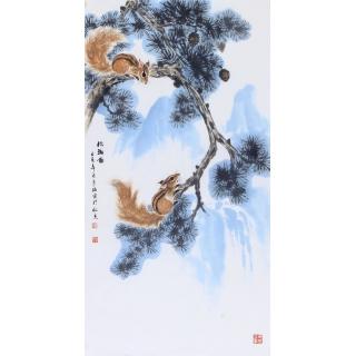国画名家作品 戴瑞雷三尺写意动物画《松鼠图》