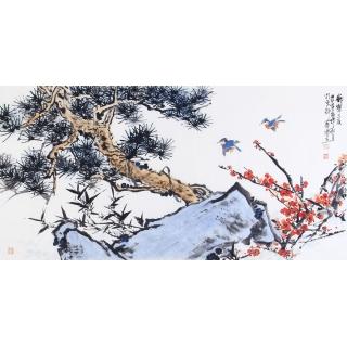 石艺博四尺横幅花鸟画作品《岁寒三友》