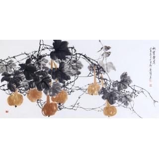 写意葫芦图 石艺博四尺横幅花鸟画《秋实累累》