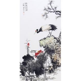 【已售】王占海四尺竖幅新品花鸟画《松鹤同春》