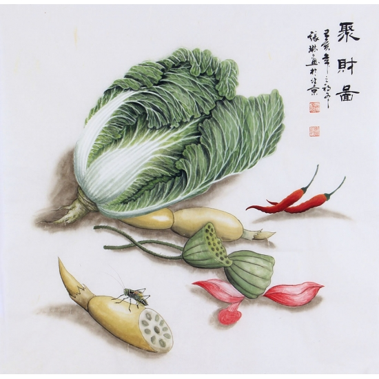 餐厅挂画 张琳斗方花鸟画白菜图《聚财图》