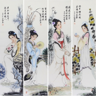 陈红梅四条屏人物画四大美女《梅兰竹菊》